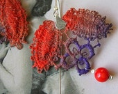 Vintage Lace Earrings sterling silver red purple violet corral modern handmade contemporary artisan free shipping