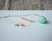 SNOWBALLS necklace sterling silver pink coral chrysoprase gemstone handmade free shipping