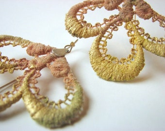Vintage Lace Earrings sterling silver pink nude yellow beige gold modern handmade contemporary artisan free shipping