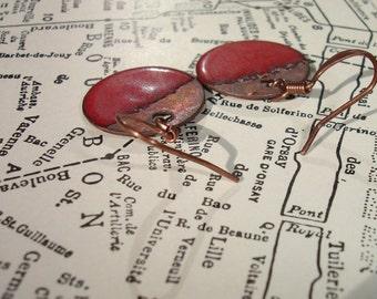 Sale Handmade Enamel Earrings in Scarlet Red, Enamel on Copper Earrings, Simple Circle, Round, Dot, Rustic, Crimson, SRA (A174)