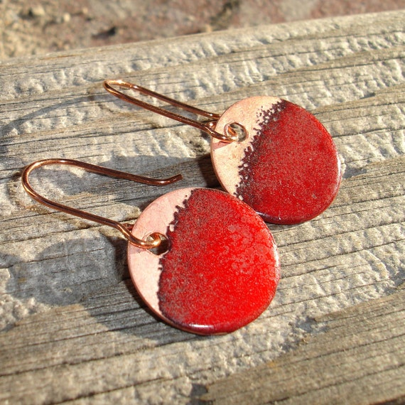 Sale Handmade Enamel Earrings in Red, Enameled Earrings, Enamel on Copper, Simple Circle, Round, Dot, Rustic, SRA (A180)