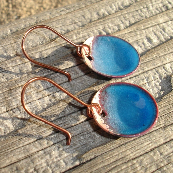 Handmade Enameled Copper Earrings, Enamel on Copper, Simple Dangle, Dot, Circle, Round, Rustic, Water Blue, SRA (A179)