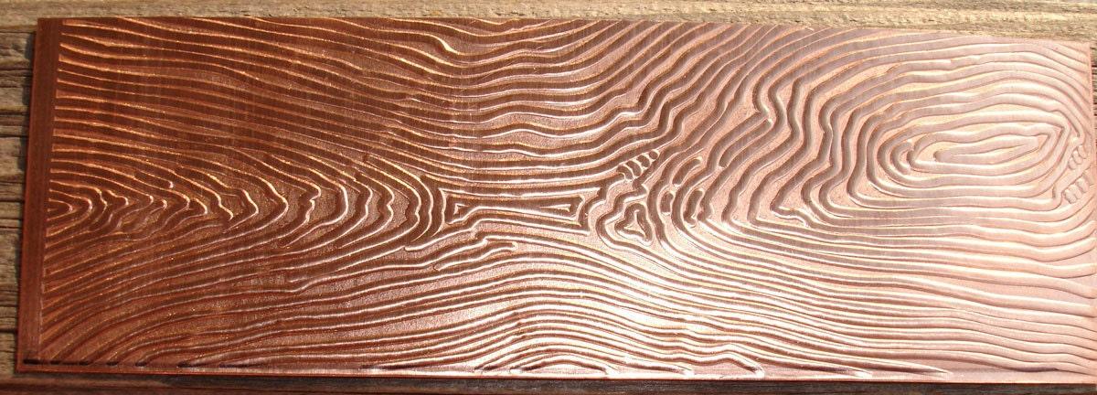 Textured Copper Sheet Metal Tree Rings 26 Gauge 6 X