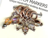 FREE SHIPPING  Fire Polished Champagne Bauble Knitting Stitch Markers Set of 6