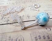 Larimar, Rainbow Moonstone, Sterling Silver Necklace, Handmade Jewelry