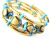 Turquoise blue Lampwork in Gold, Memory Wire Bracelet