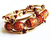 Lampworked Glass, Memory Wire, Gold Bracelet