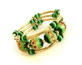 Green, Gold Memory Wire Bracelet, Handmade Jewelry