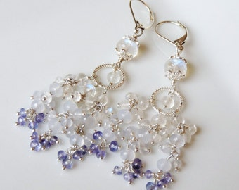 Rainbow Moonstone Chandelier Earrings, Sterling Silver Earrings, Handmade Jewelry