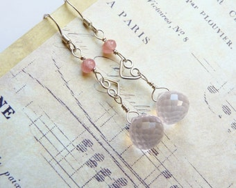Rose Quartz, Rhodochrosite, Sterling Silver Earrings, Handmade Jewelry