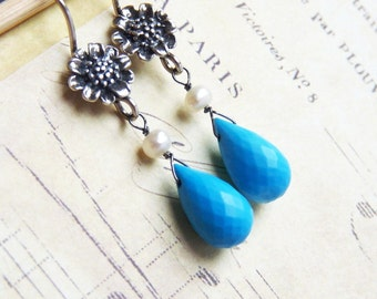 Turquoise, Pearls and Antiqued Sterling Silver Earrings