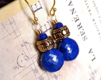 Lapis Lazuli, Golden Earrings, Handmade Jewelry