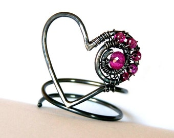 Sterling Silver, Pink Tourmaline, Wire Wrapped, Heart, Wearable Art, Ring, one of a kind,