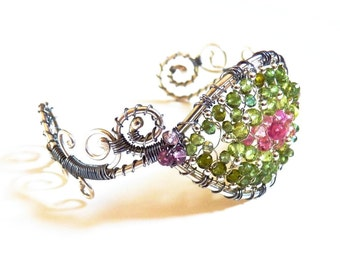 Tourmaline, Peridot, Sterling Silver, Bracelet, Wire Wrapped Cuff, Wearable Art, one of a kind, handmade jewelry