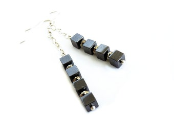 Hematite, Pyrite, Sterling Silver Earrings, Handmade Jewelry