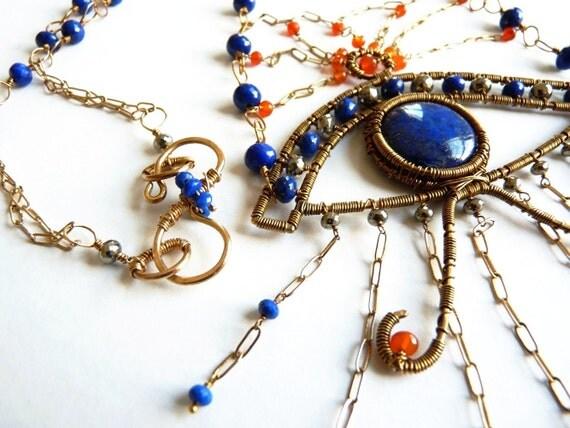 The Eye of Horus Jewelry, Lapis , Bronze Necklace, Art Jewelry, Handmade Jewelry,