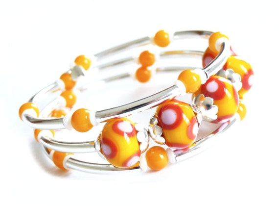 Lampworked Glass Silver Memory Wire Bracelet