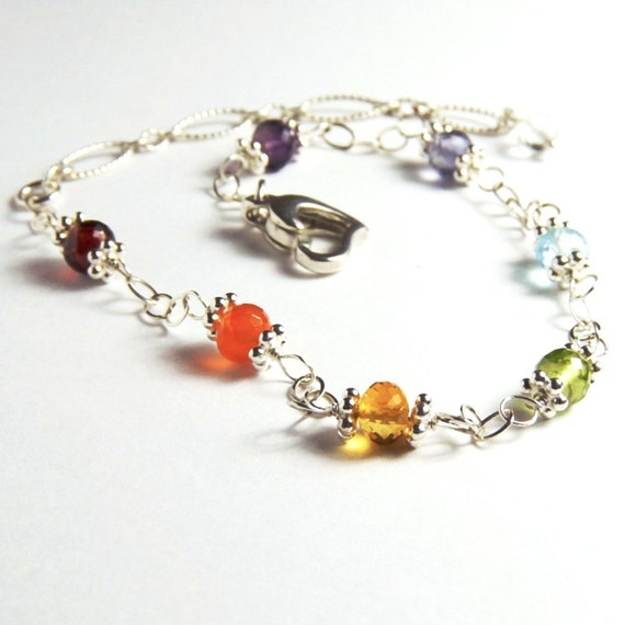Chakra,  Rainbow, Sterling Silver Bracelet, Handmade Jewelry
