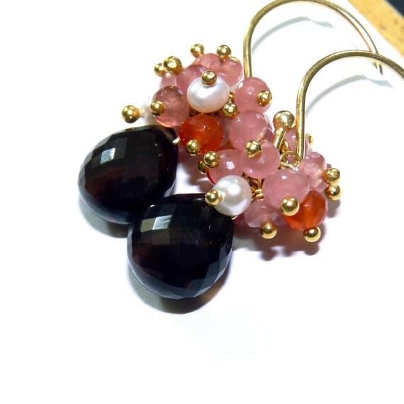 Smoky Quartz Earrings, Golden Earrings, Handmade Earrings,