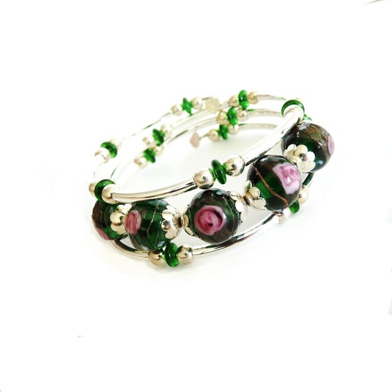 Emerald Green Lampworked Glass and Silver Plated Brass Memory Wire Bracelet
