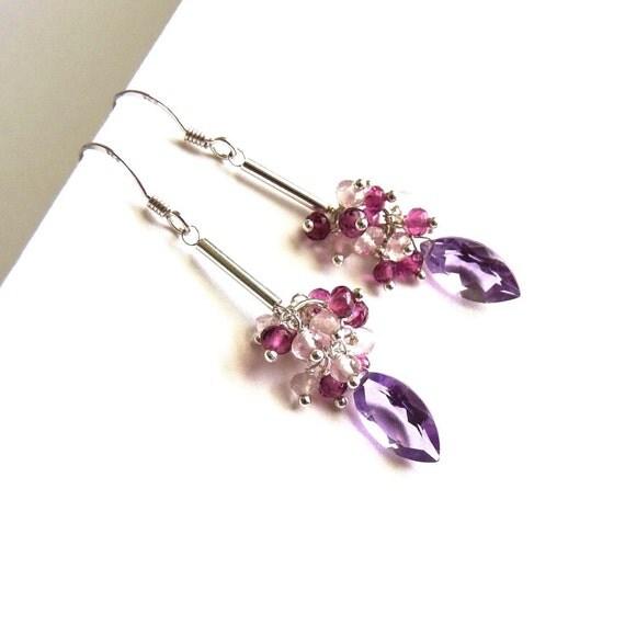 Purple Amethyst, Pink Tourmaline, Rose Quartz, Sterling Silver Earrings, Handmade Jewelry