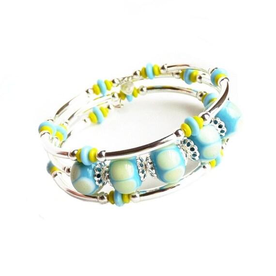 Silver Memory Wire Bracelet, Blue Glass Handmade Jewelry