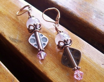 Rose Quartz Earrings With Carved Copper Diamonds and Pink Crystals