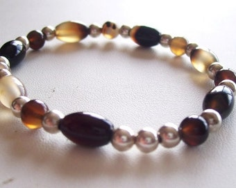 Black Agate Stretch Bracelet