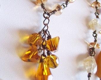 Multi Strand Necklace - Multi Gemstone Necklace With Asymmetrical Design