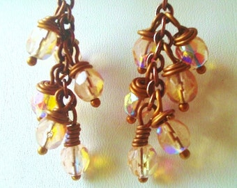 Copper Chain Earrings with Light Peach Czech Glass Bead Dangles