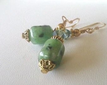 Green Stone Earrings, Kiwi Jasper and  Green Crystal Earrings