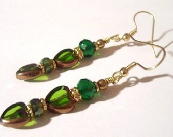 Emerald Green Earrings, Go Green With Love, Green and Gold Heart Earrings
