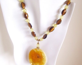 Tiger Eye Necklace with Yellow Pressed Flower Shell Pendant