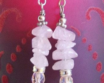 Pink Gemstone Earrings - Rose Quartz Chips With Czech Glass Bead Drop