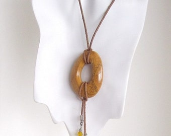 Pendant Necklace on Leather Cord - Picture Jasper Donut Pendant with Egyptian Ankh Cross - CLEARANCE 40% OFF