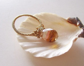 Tiger Cherry Quartz  Ring -Hand Wired And Wrapped In Brass Wire
