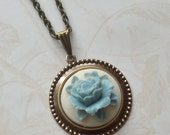 Cabbage Rose Cameo Necklace- Dusty Blue and Ivory- Store Closing Sale- Everything reduced 50%