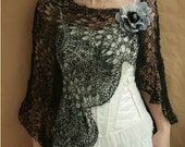 Black capelet, wrap, shawl with flower Pin---for all occasion
