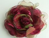 Burgundy and green....Flower---corsage-pin-brooch or head piece