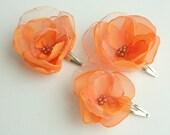3 light orange flowers  for  bridesmaids and flower girls---head piece, hair pins