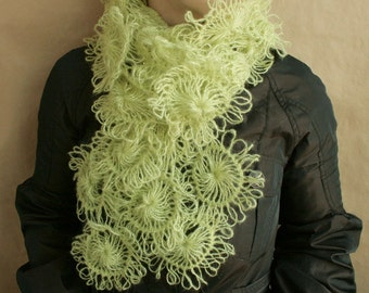 Green SCARF from knitted flowers