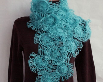 Turquoise  SCARF from Flowers---hand knitted
