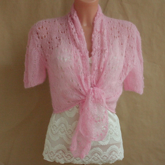 Pink sweater, shrug, bolero, size M