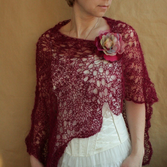 Burgundy SCARF, shawl, wrap, capelet with flower PIN---hand knitted