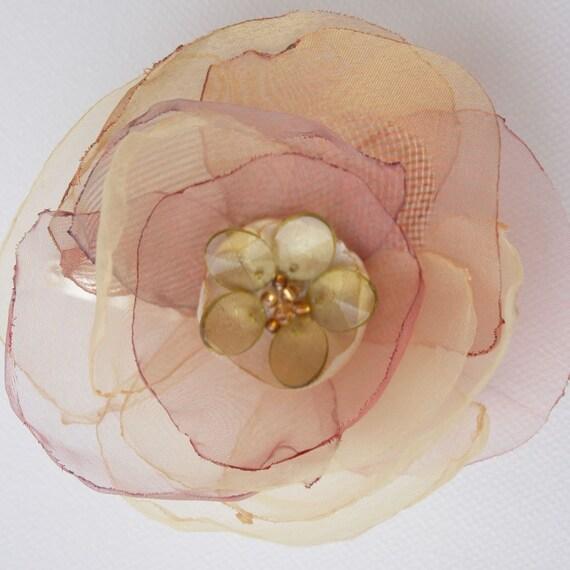 Light Organza Flower-head piece-hair pin-hair clip