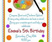 Art Invitations, Art Party, Painting Birthday party ,Paint Pallette, Crafts, Birthday, Boy,Girl, Party, Favor Stickers, address labels