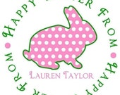 Easter Stickers, Easter Bunny,  Favor labels, gift stickers, Polka Dot Bunny, Custom Color, Set of 12