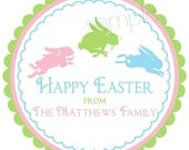 Easter Stickers, Jumping Bunnies, Easter,  favor labels, gift stickers, Labels, Seals, Favor, Set of 12