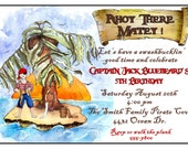 Personalized childrens Birthday Invitations, Pirate, Island, Tropical, Pirate party, Custom