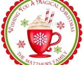 Personalized Stickers, Hot Chocolate, Candy Cane, Whipped Cream, Christmas, Winter, Labels  Favor, Set of 12
